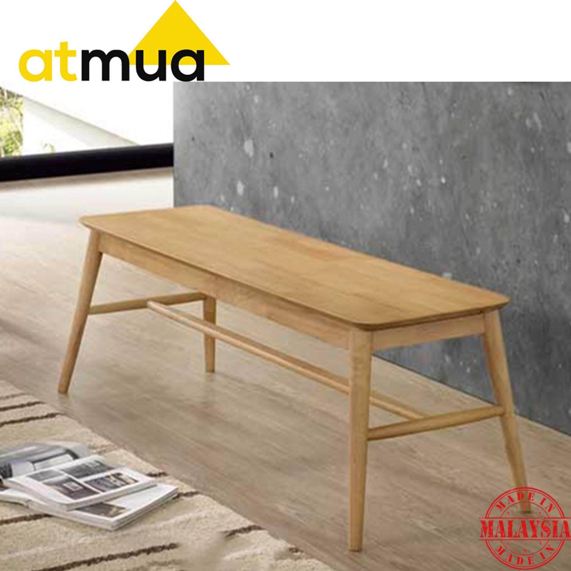 Atmua Gordon Scandinavian Bench Chair Dining Chair [Full Solid Rubber Wood]