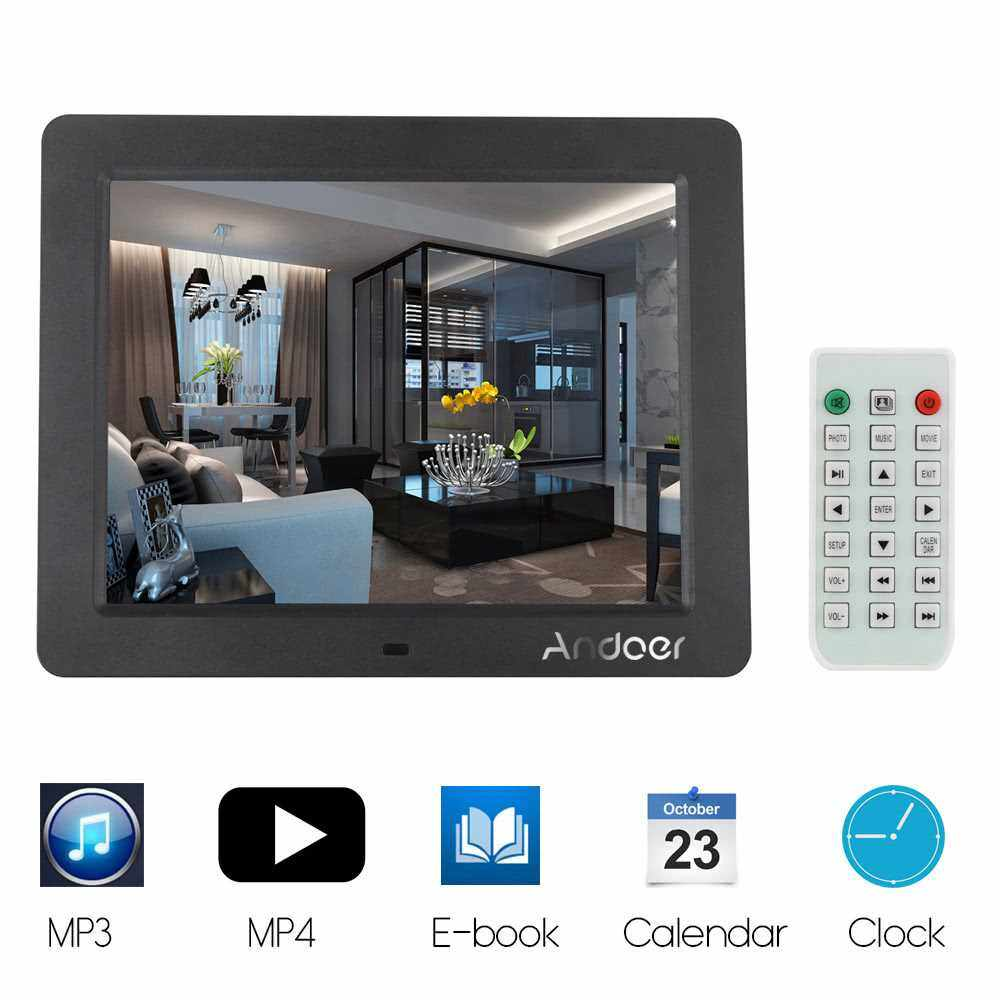 """Best Selling Andoer 10"""" Desktop Multifunctional High Resolution Slim LCD Digital Photo Frame with MP3 MP4 E-book Calendar Clock Function with Remote Controller Christmas Gift (Black)"""