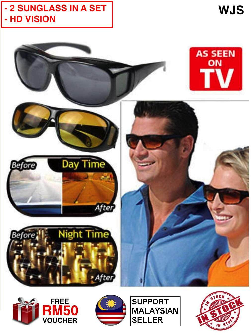 (2 IN A SET) WJS HD Vision Sunglass HD Vision Sunglasses HD Sunglass Senior Sunglass Grandparent Sunglass Driving Sunglass Anti Glare Anti Reflection Wrap Around Sunglasses Spectacle Spectacles BLACK BROWN [FREE RM50 VOUCHER]