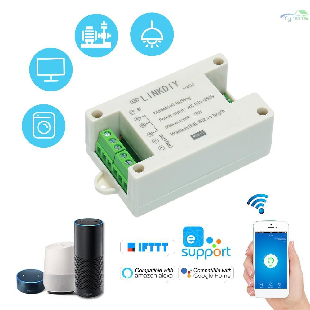 DIY Tools - Smart Wifi Switch Universal Module 2CH AC85-250V WIRELESS Switch Timer Phone APP Remote - WHITE