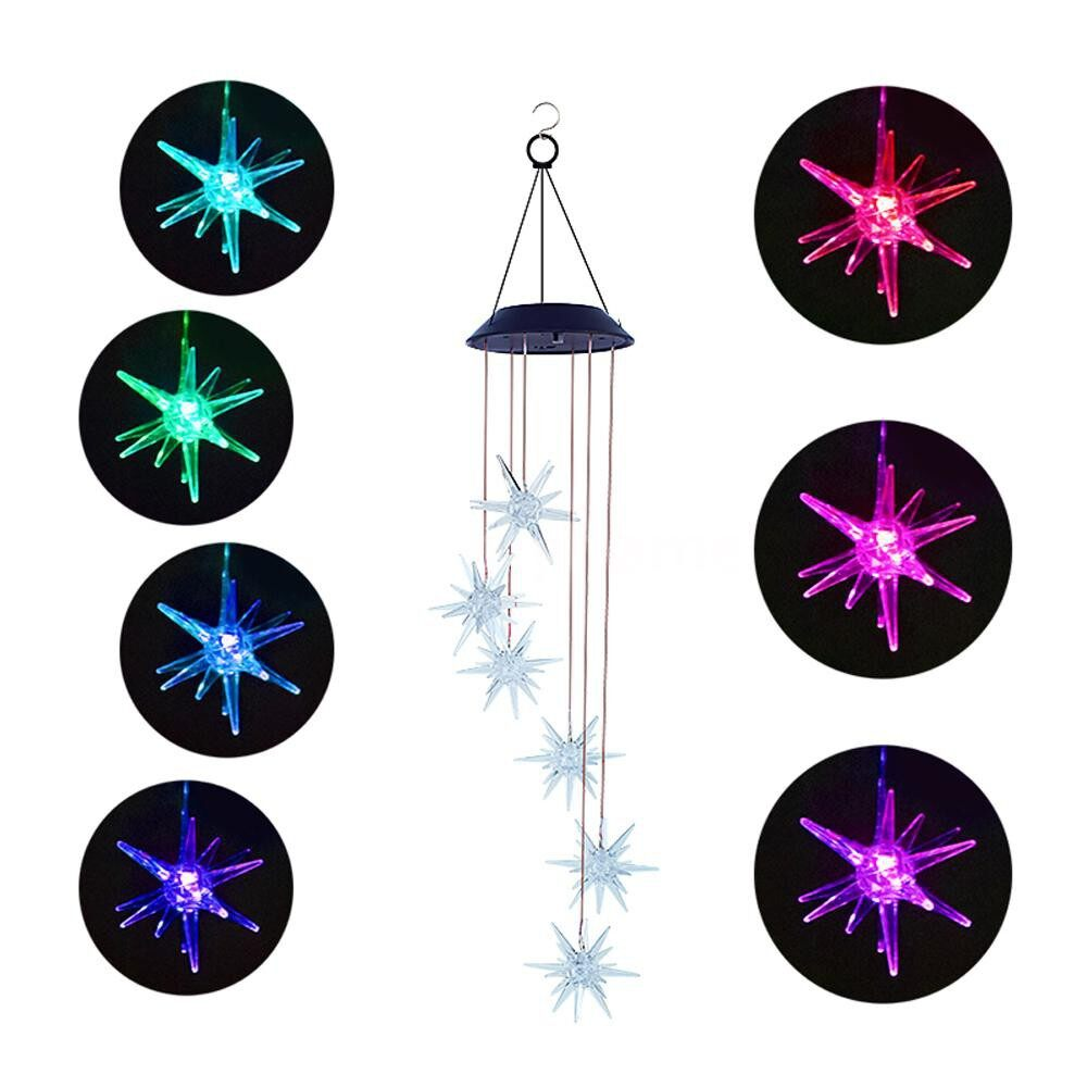 Outdoor Lighting - Solar Power Wind Bell Lights Color Changing Wind Chimes Spiral Spinner PORTABLE Wind Mobile - WISHING BOTTLE / CRYSTAL BALL / BUTTERFLIES / SEA URCHIN / BIRDS