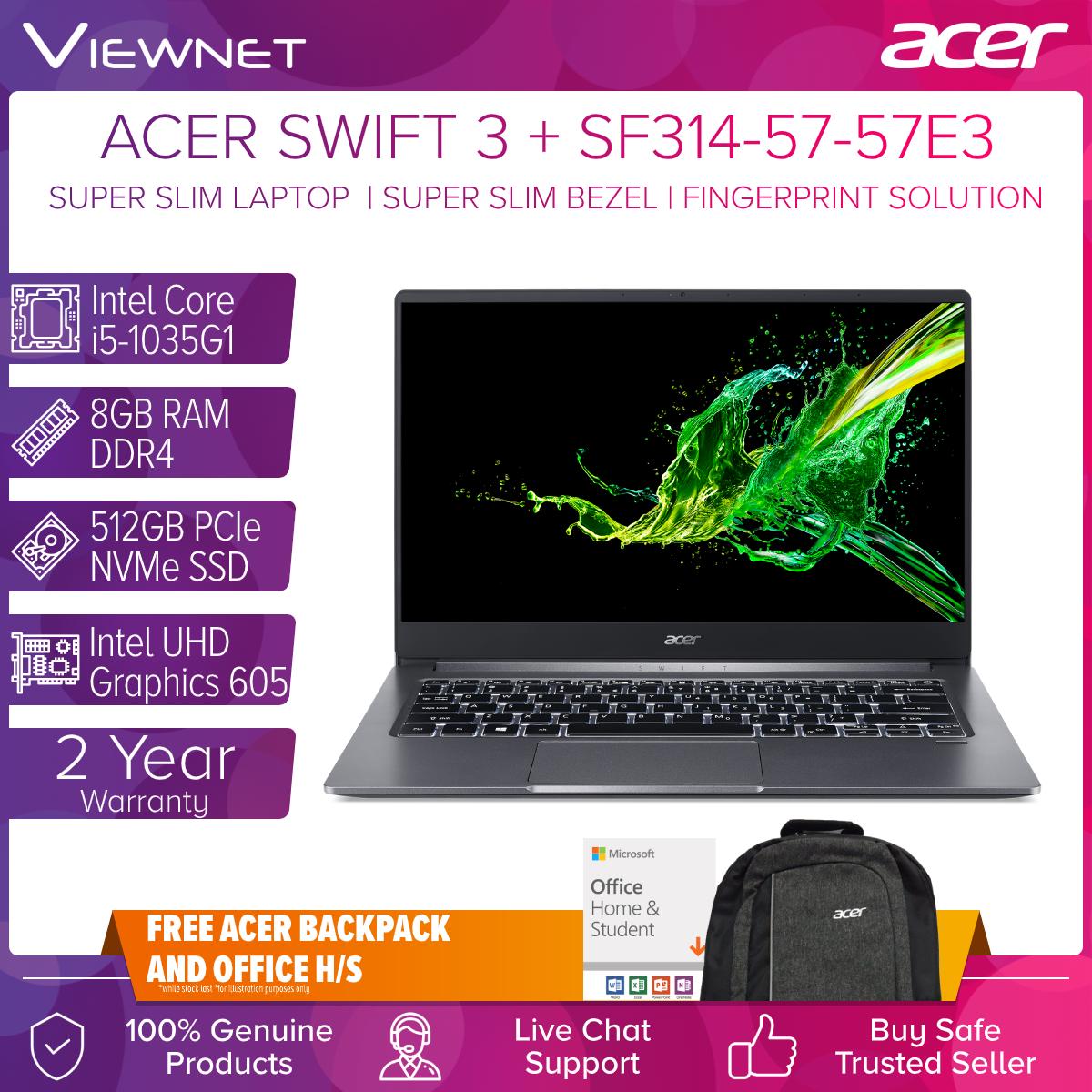 ACER SWIFT 3 LAPTOP SF314-57-5549 / SF314-57-50TR / SF314-57-57E3 : INTEL CORE I5 1035G1/8GB DDR4/512GB SSD/INTEL HD/W10/14