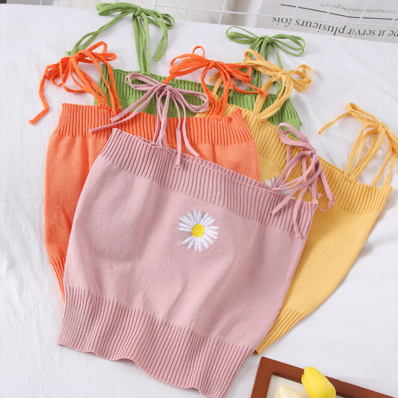 (PRE ORDER) WOMEN NEW SWEET DAISY LACE BOW KNIT CAMISOLE
