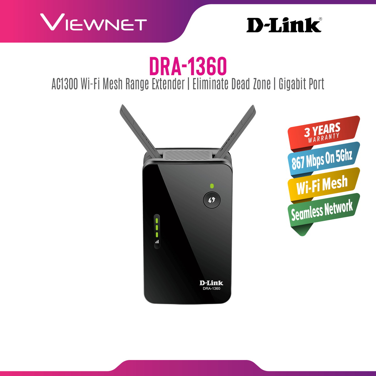 D-Link WiFi Range Extender AC1300 Mesh-Enabled DRA-1360, Gigabit Port, 400Mbps