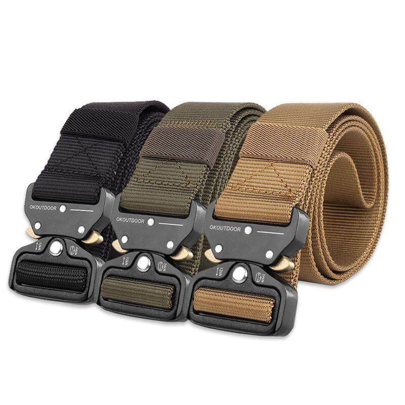 [M'sia Warehouse Direct] 2020 Korean Series Men's Military Army Adjustable Automatic Canvas Buckle Belt Heavy Duty Metal Series (Come With Box) Perfect Gift For Love One Luxury Suitable For Formal Wear Jeans Casual Wear Long Lasting Tali Pinggan
