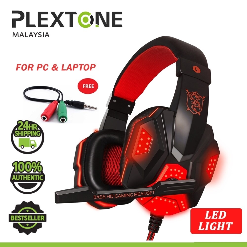 PLEXTONE PC780 Double Bass Gaming Headphones Headsets with MIC HD Mic + LED Light Noise Cancelling Headphone for PC Laptop Mobile HUAWEI SAMSUNG REALME OPPO VIVO XIAOMI