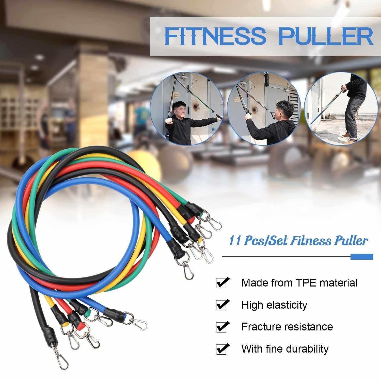 11pcs Fitness Puller Set Upgraded Resistance Belt Multifunctional Exercise Elastics Tubes for Training Gym Bodybuilding Sport Workout (Standard)