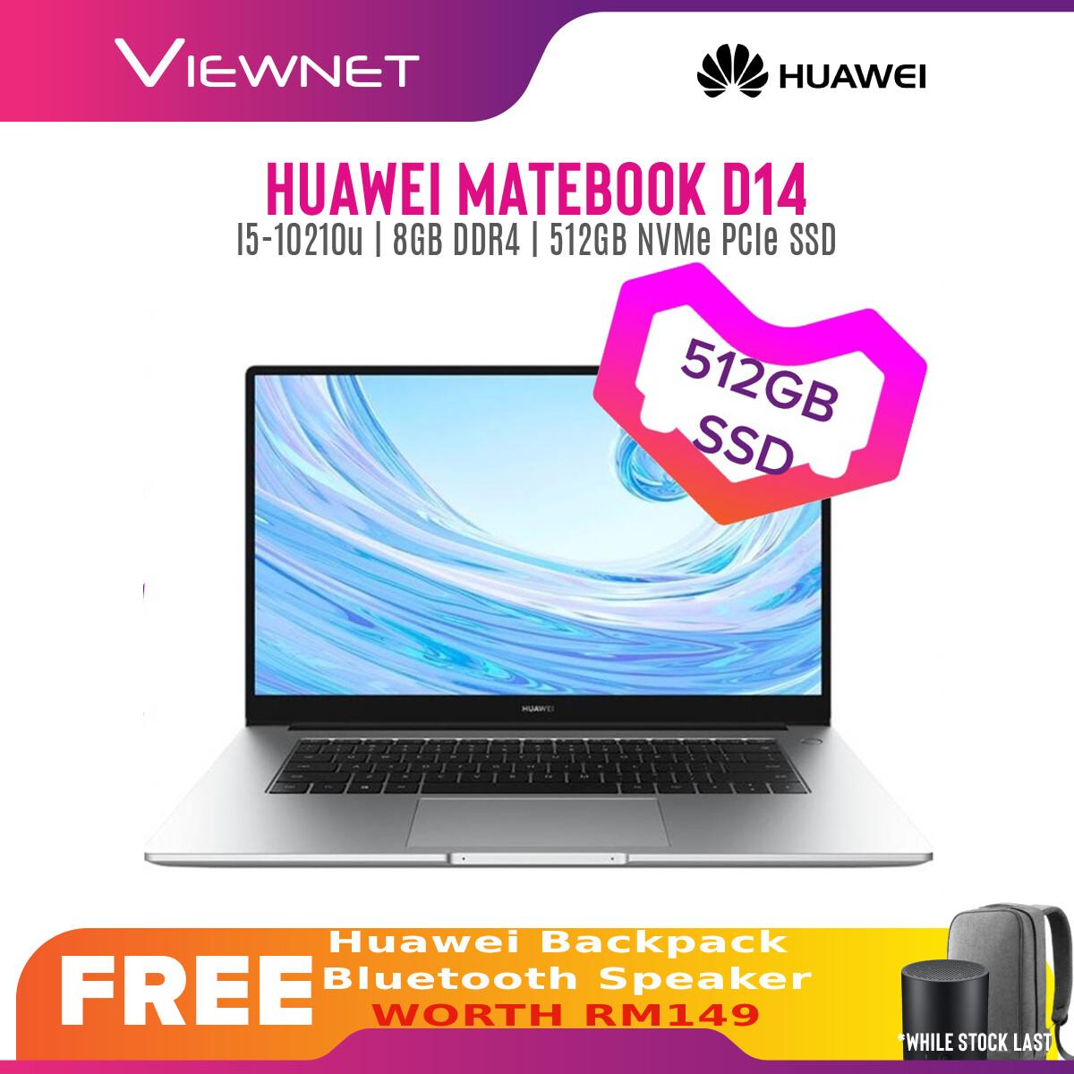 HUAWEI MATEBOOK D14 i5-10219U LAPTOP 8GB DDR4 512GB PCIE SSD FHD SILVER