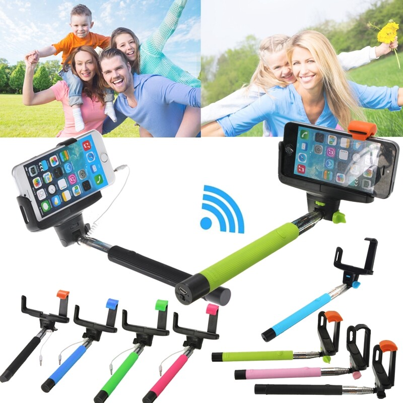 Phone Holder & Stand - WIRELESS Extendable Telescopic Selfie Stick Monopod For Camera All Mobile Phone - PINK / BLUE / BLACK / GREEN