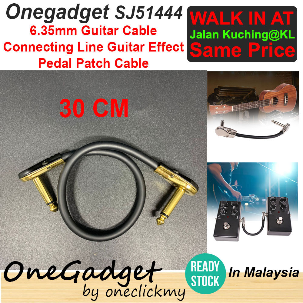 [READY STOCK]Onegadget 30CM/15CM Supply 6.35 guitar line effector cable flat head gold-plated guitar black cable
