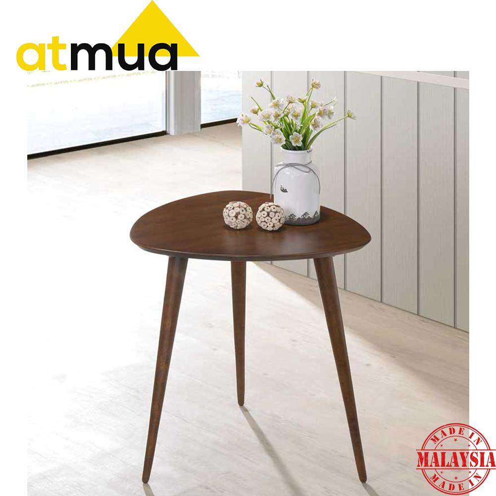 Atmua Tri Triangle End Table Side Table Small Table Solid Wood (Scandinavian Design) [Full Solid Rubber Wood]