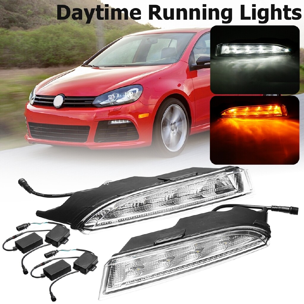Car Lights - 2 PIECE(s) DRL Daytime Running Turn Signal Lights LED For VW Golf 6 MK6 R20 2009-2013 - Replacement Parts