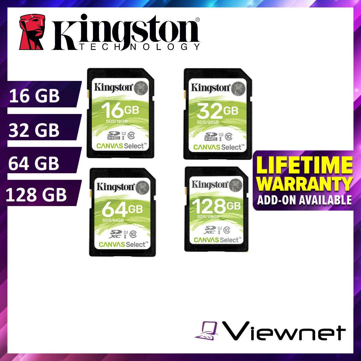 Kingston Canvas Select 16GB/32GB/64GB/128GB Class 10 UHS-I SDHC/SDXC memory card (SDS/16GB/32GB/64GB/128GB)