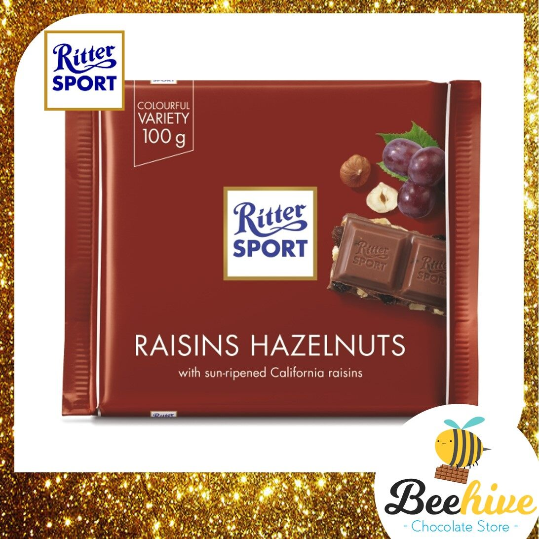 Ritter Sport Raisins Hazelnuts Chocolate 100g [Ice Cold Packs Included]