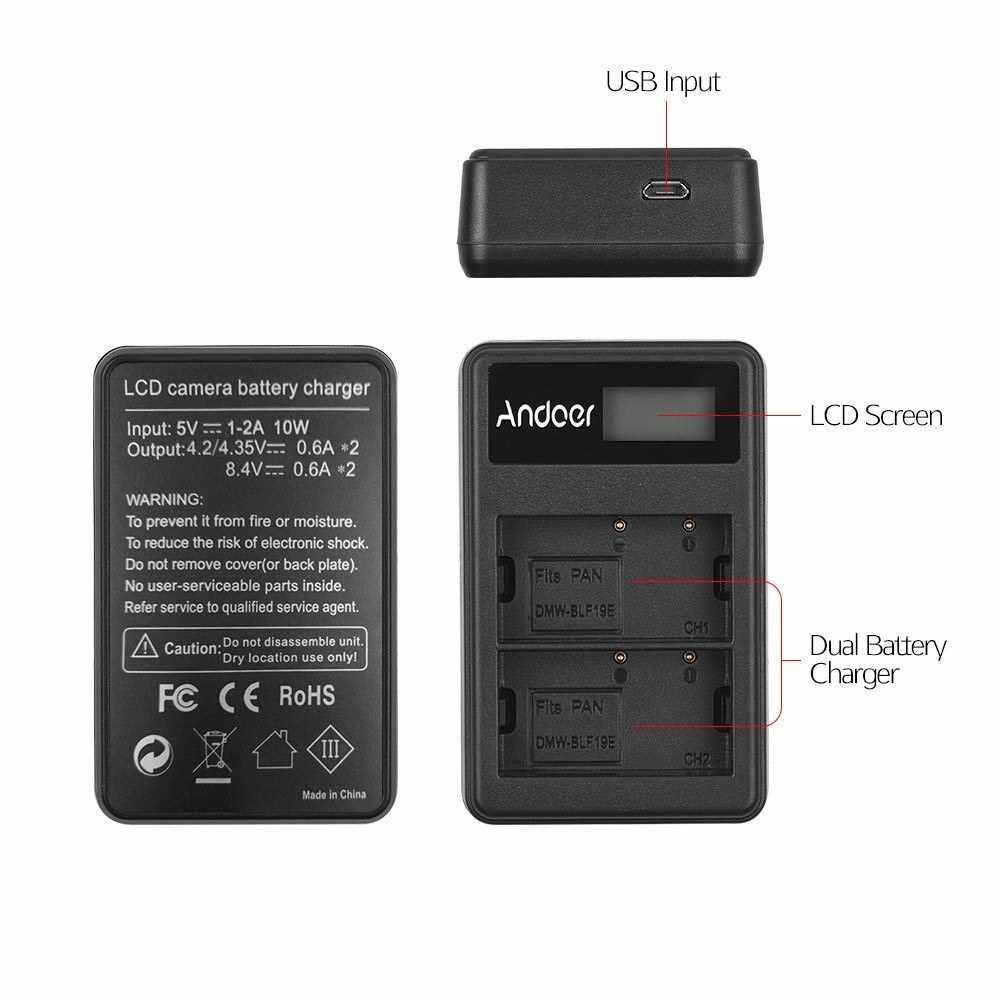 Andoer LCD2-BLF19 LCD Dual Camera Battery Charger for Panasonic Lumix GH3 GH4 GH5 DMC-GH3 DMC-GH4 DMC-GH5 Camera (2)