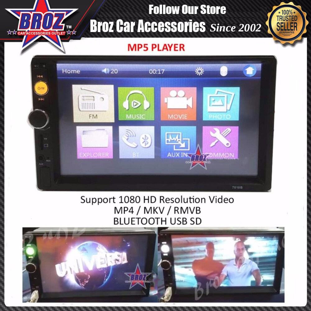 Broz 7  Mirror Link Touchscreen MP5 Player MP4 1080 HD Resolution Video Bluetooth SD USB DIVX AVI MKV