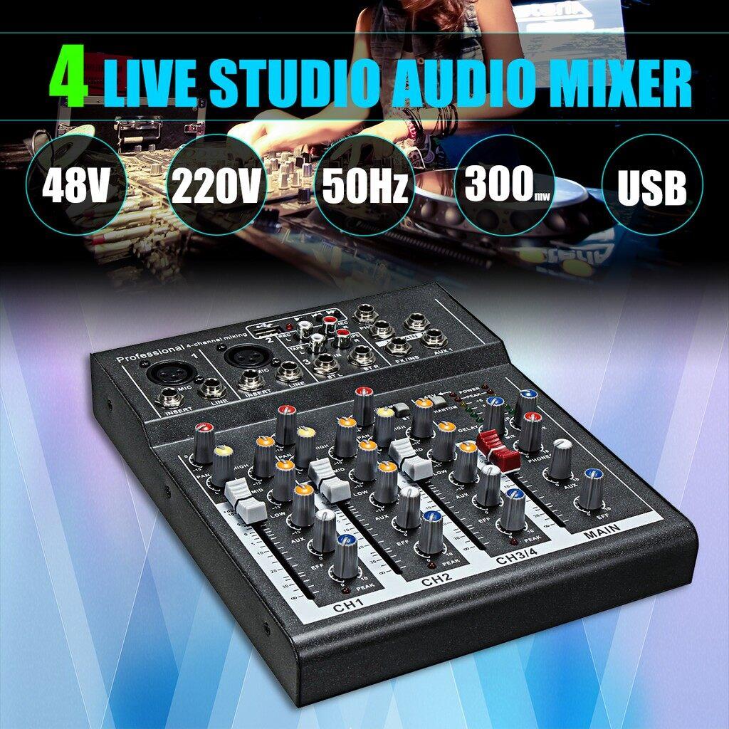 Amplifiers & Receivers - PORTABLE Pro 4 Channel Live Studio Audio Sound Mixer USB Mixing Console 48V - Home Entertainment