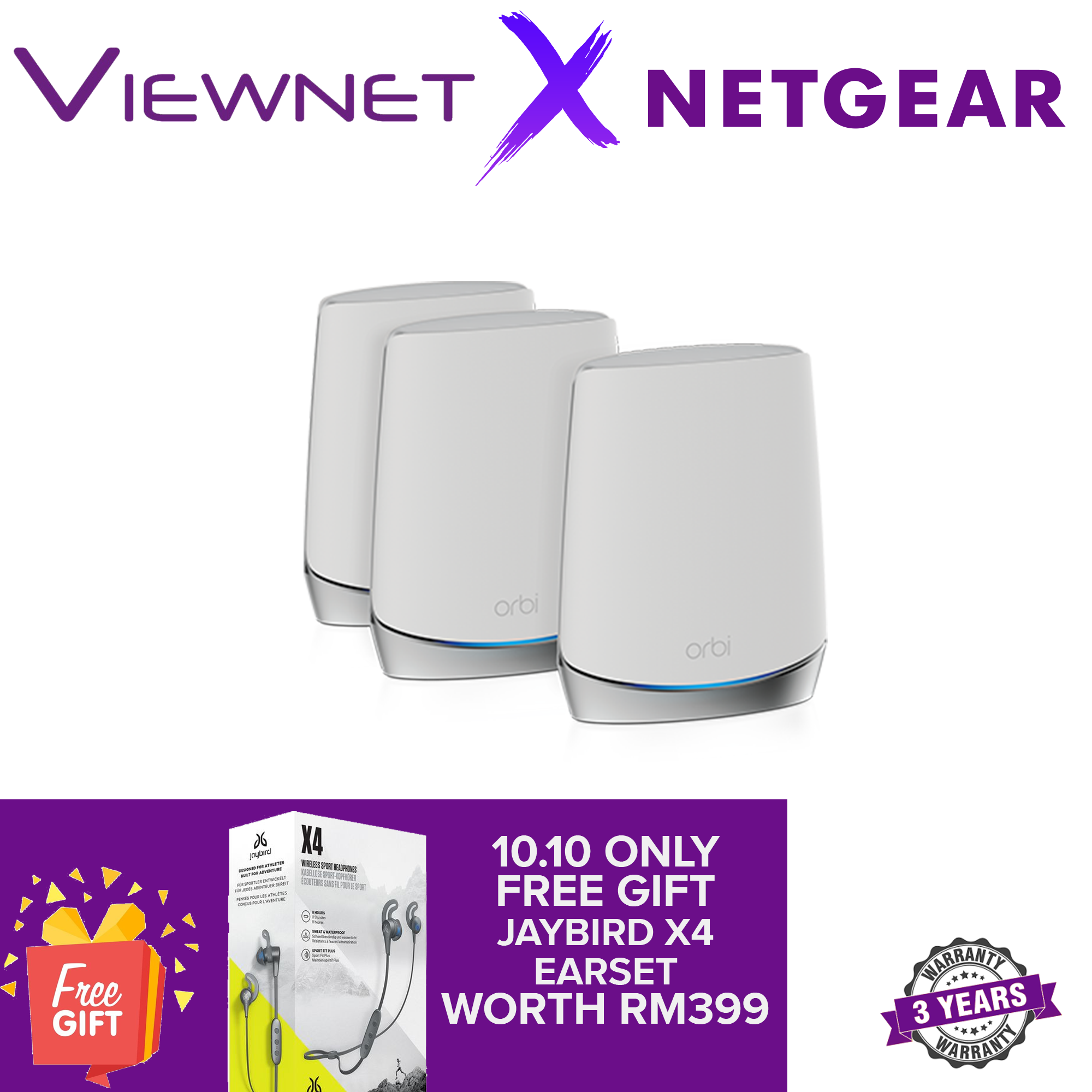 NETGEAR Orbi Whole Home Tri-Band Mesh WiFi 6 System (RBK753) – Router with 2 Satellite Extender Coverage up to 5,000 sq. ft. and 40+ Devices Mesh AX4200 WiFi 6 (Up to 4.2Gbps)