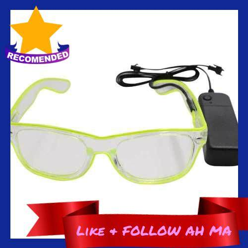 Best Selling LED Glasses 10 Colors Optional Light Up El Wire Neon Rave Glasses Twinkle Glowing Party Club Holiday Bar Decorative Glasses (Fluorescent Green)