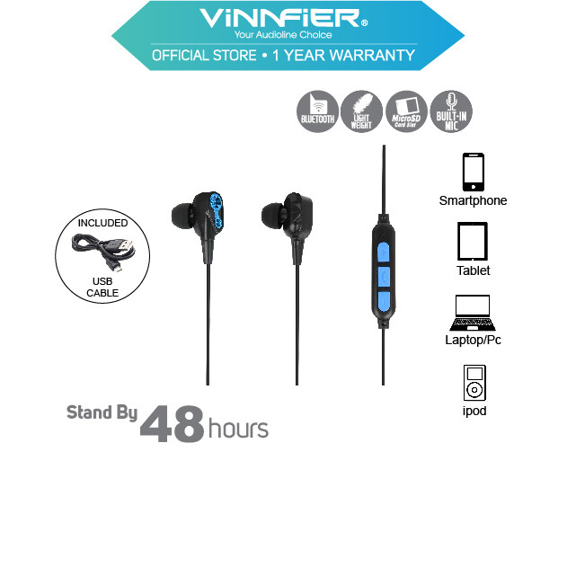 Vinnfier FlipGear Sporta 6 Wireless Sports Bluetooth Earphones with Built in Microphone Earbuds For Mobile  Smartphones and Tablets