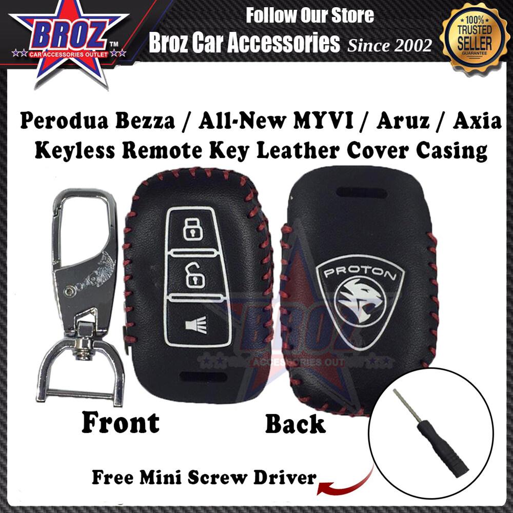 X70 Hand-Sewn Leather Keyless Remote Key Cover Casing (Black-RedLine)