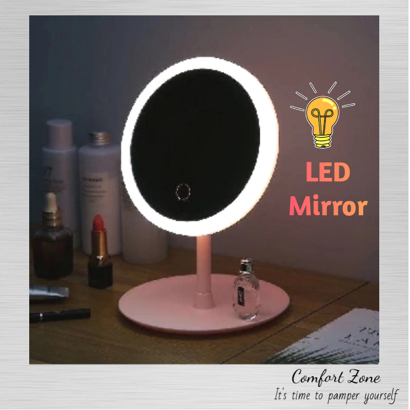 (Ready Stock) LED Light Makeup Mirror Cosmetic Mirror USB Rechargeable Adjustable Rotation Counter-top Mirror