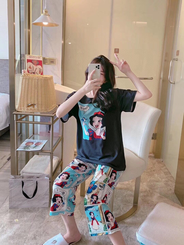 Malaysia Seller Women Cartoon Sleepwear Short Sleeve Long Pants Pajamas Nightwear