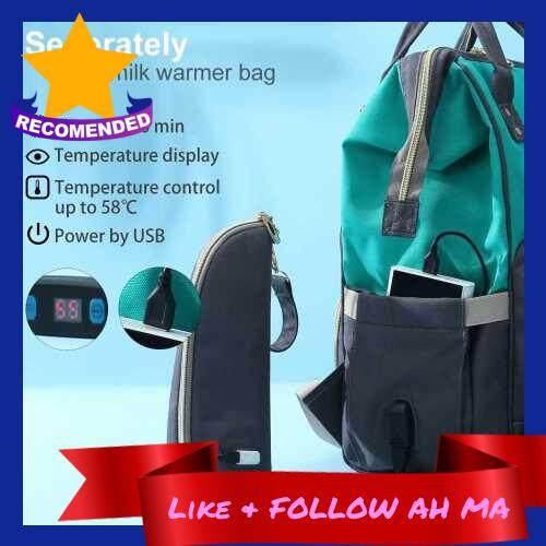 Best Selling Diaper Bag Backpack Accessories Stroller Strap Changing Mat Wet Bag USB Bottle Warmer Bag (Black)