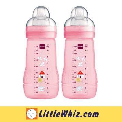 MAM: Easy Active Baby Feeding Bottle 270ml - 2pk - Pink (Bird&House)