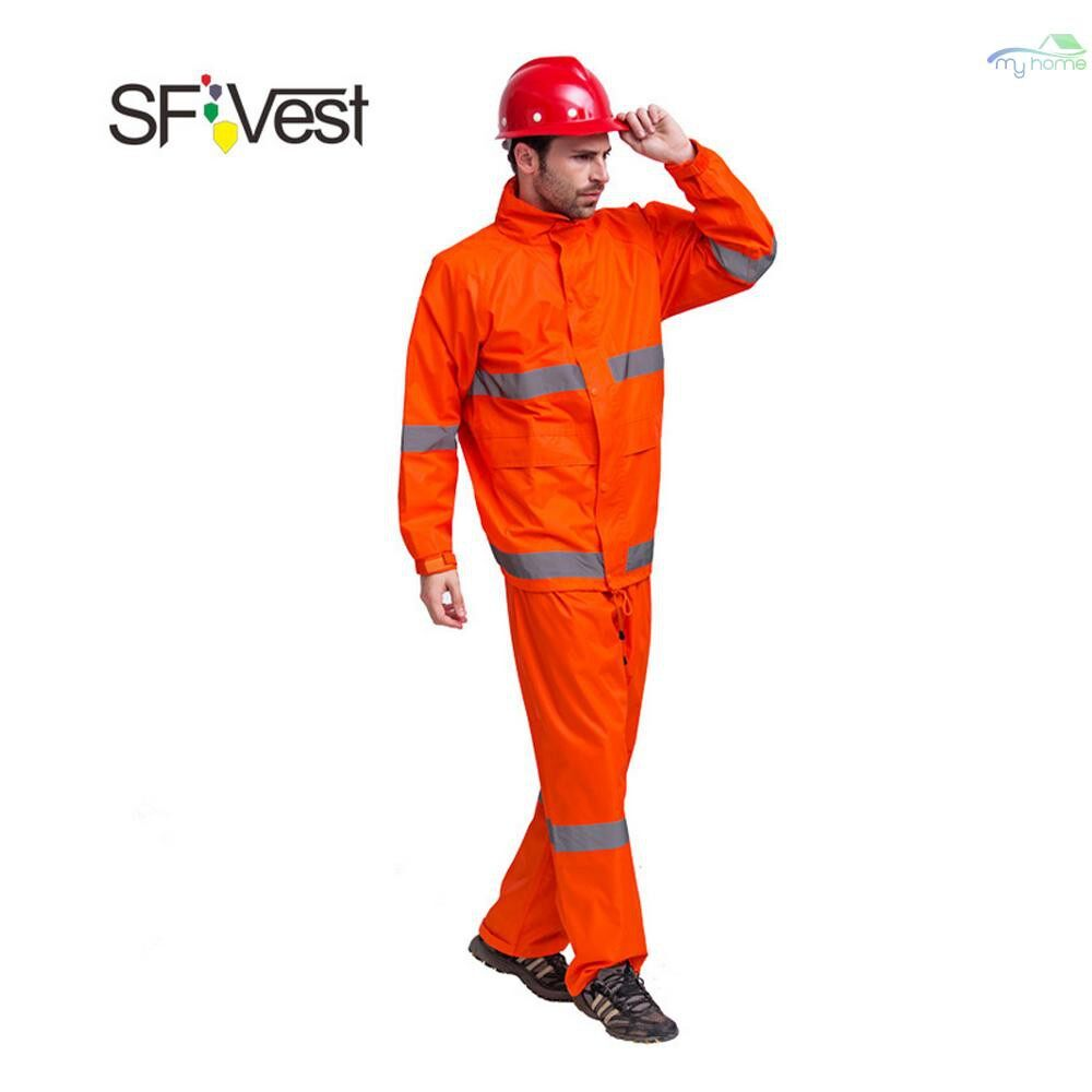 Protective Clothing & Equipment - SFVest High Visibility Reflective Rainwear Suit Luminous Safety Raincoat Suit Outdoor Hiking Riding - ORANGE-XL / ORANGE-L / ORANGE-M / YELLOW-XL / YELLOW-L / YELLOW-M