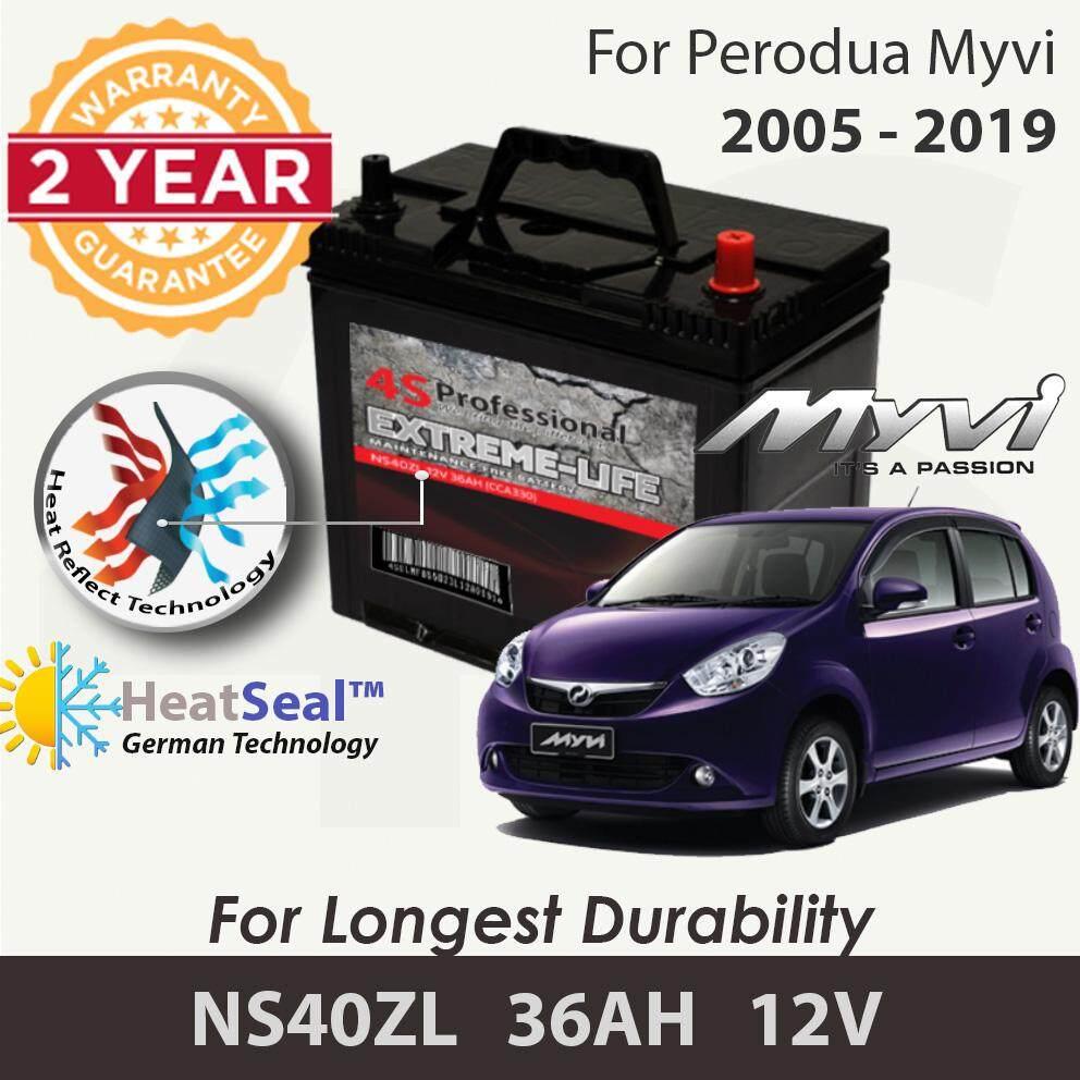 [Free Self-Installation Kit] Perodua Myvi 2005-2019 NS40ZL (36B20L) 4S Professional Extreme-Life MF Maintenance Free Car Battery (24 months Warranty) equal to NS40 Amaron Go /GP MF Gold / Varta Silver /Century Gold