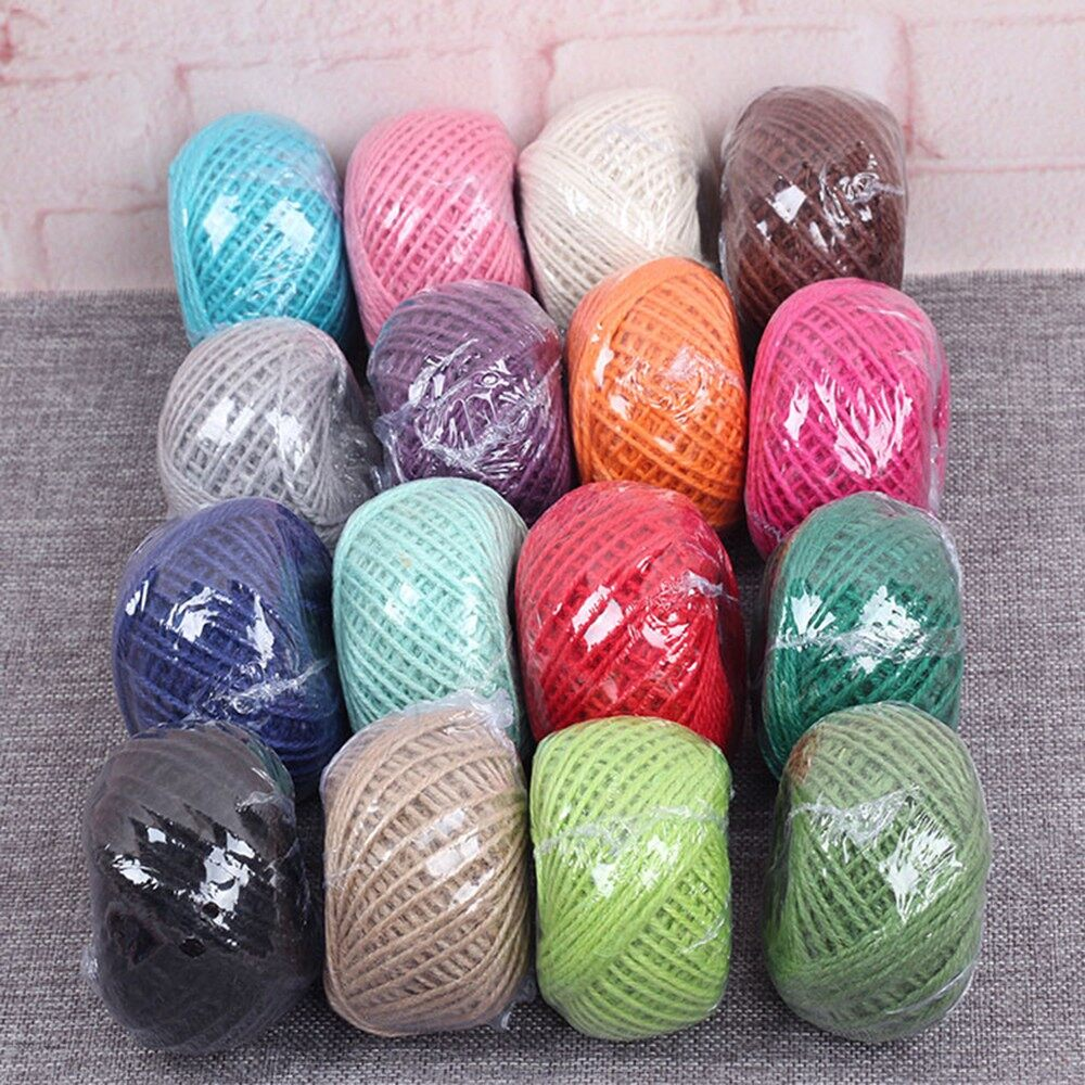 Home Decor - 50m Colorful Jute Twine Hemp Rope String Packing Wrapping Ribbon Crafting Cord f - SKY BLUE / ROSE RED / RED / PURPLE / PINK / MILK WHITE / LIGHT GREEN / LIGHT BLUE / COFFEE / GREY / GREEN / DARK GREEN / DARK BLUE / CAMEL / ORANGE / BLAC