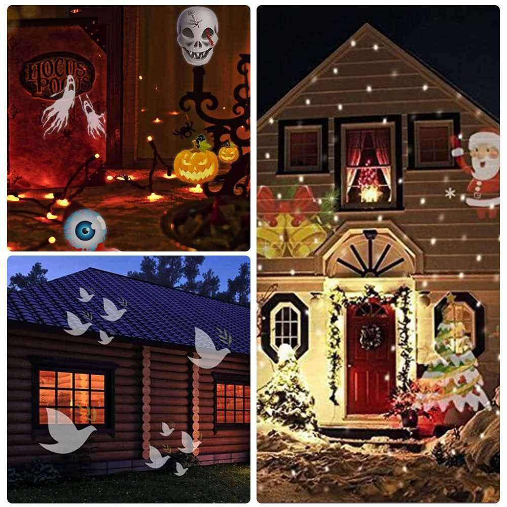 Indoor Outdoor Waterproof Projector Light 12 Replaceable Patterns Automatically LED Moving Projector Lamp for Celebration Decoration Projector Light