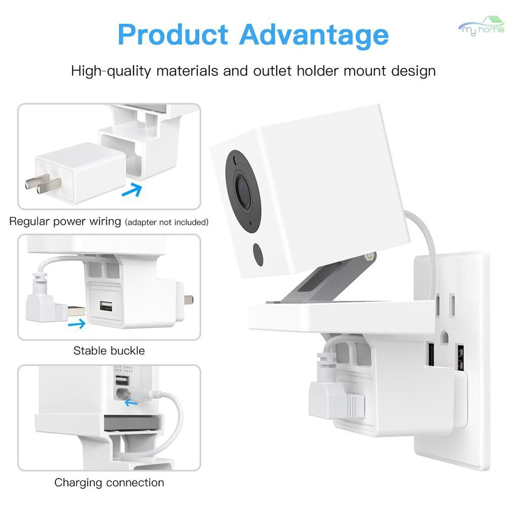 Plugs & Adapters - 2 PIECE(s) Socket Holder Bracket AC Outlet Mount Wall Mounting Smart Cable Arrangement Compatible with - WHITE-2 / WHITE-1