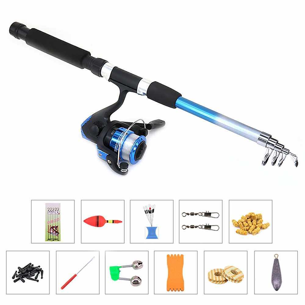Fishing Reel Rod Combo Set Fishing Pole Spinning Reel Set with Fishing Accessories (Blue)