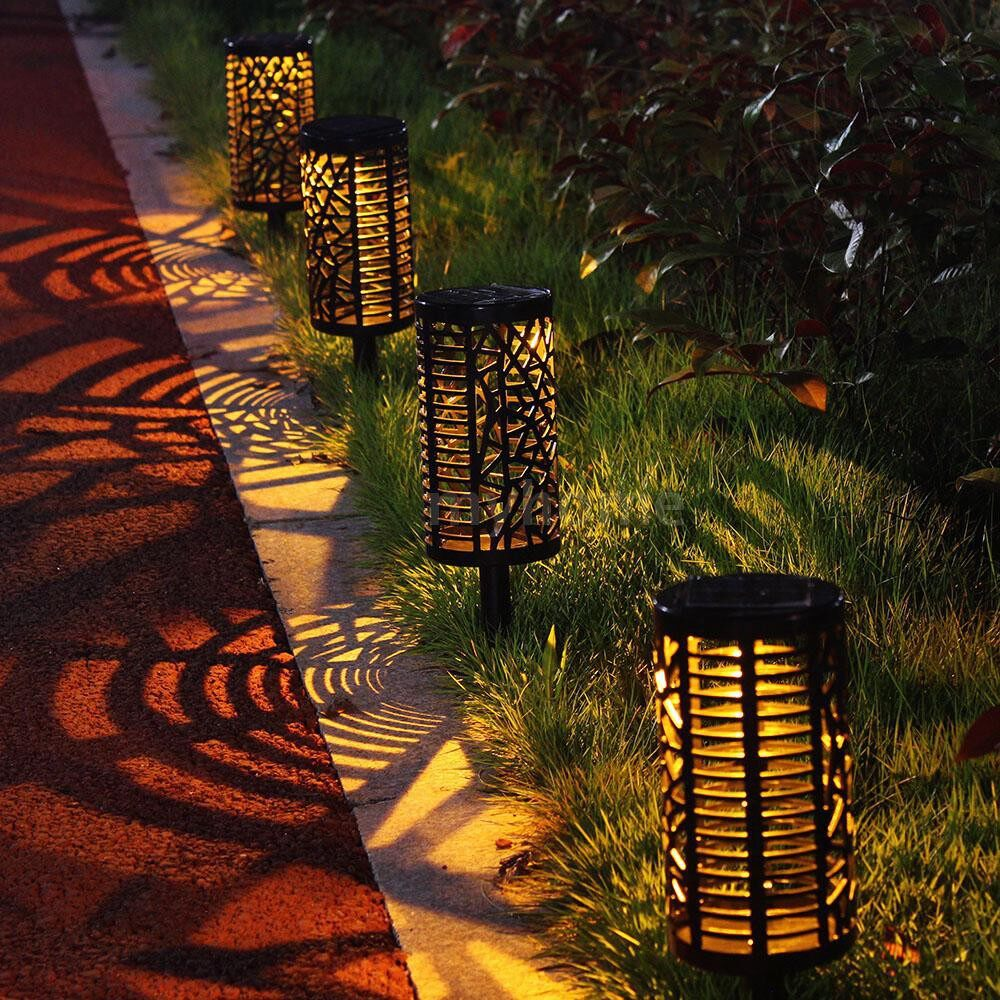 Outdoor Lighting - PORTABLE Outdoor Decoration Intelligent Double Color Light Solor Panel Lawn Lamp With Hollowed-Out - MULTICOLOR