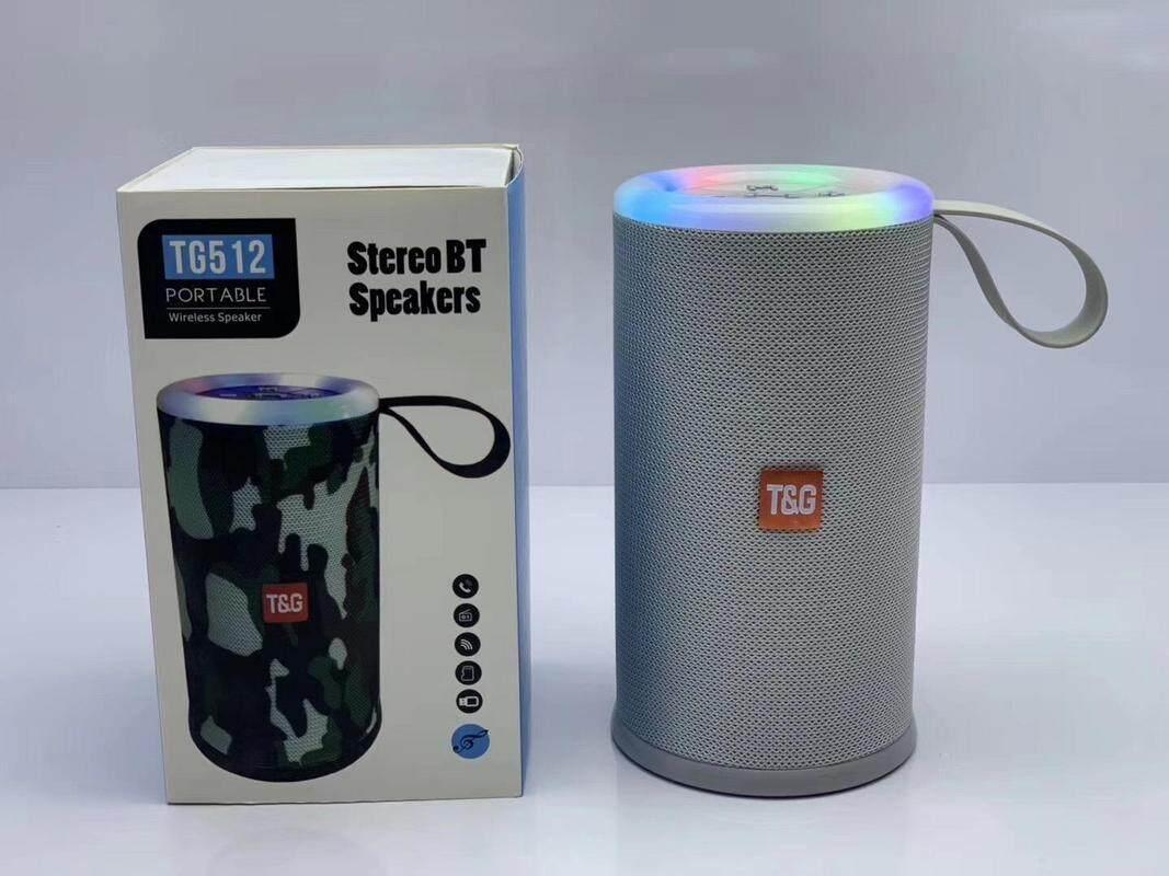 TG-512 TG512 BLUETOOTH PORTABLE WIRELESS SPEAKER WITH LED FLASHIG LIGHT (Fresh Import) High Quality GREY