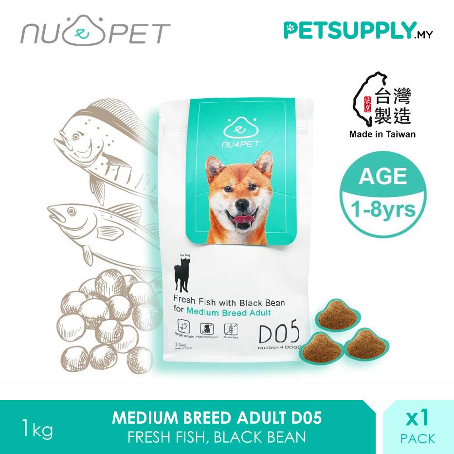 NU4 PET D05 Fresh Fish Black Bean Medium Breed Adult Probiotic Dry Dog Food 1.5kg [makanan anjing - Petsupply.my]