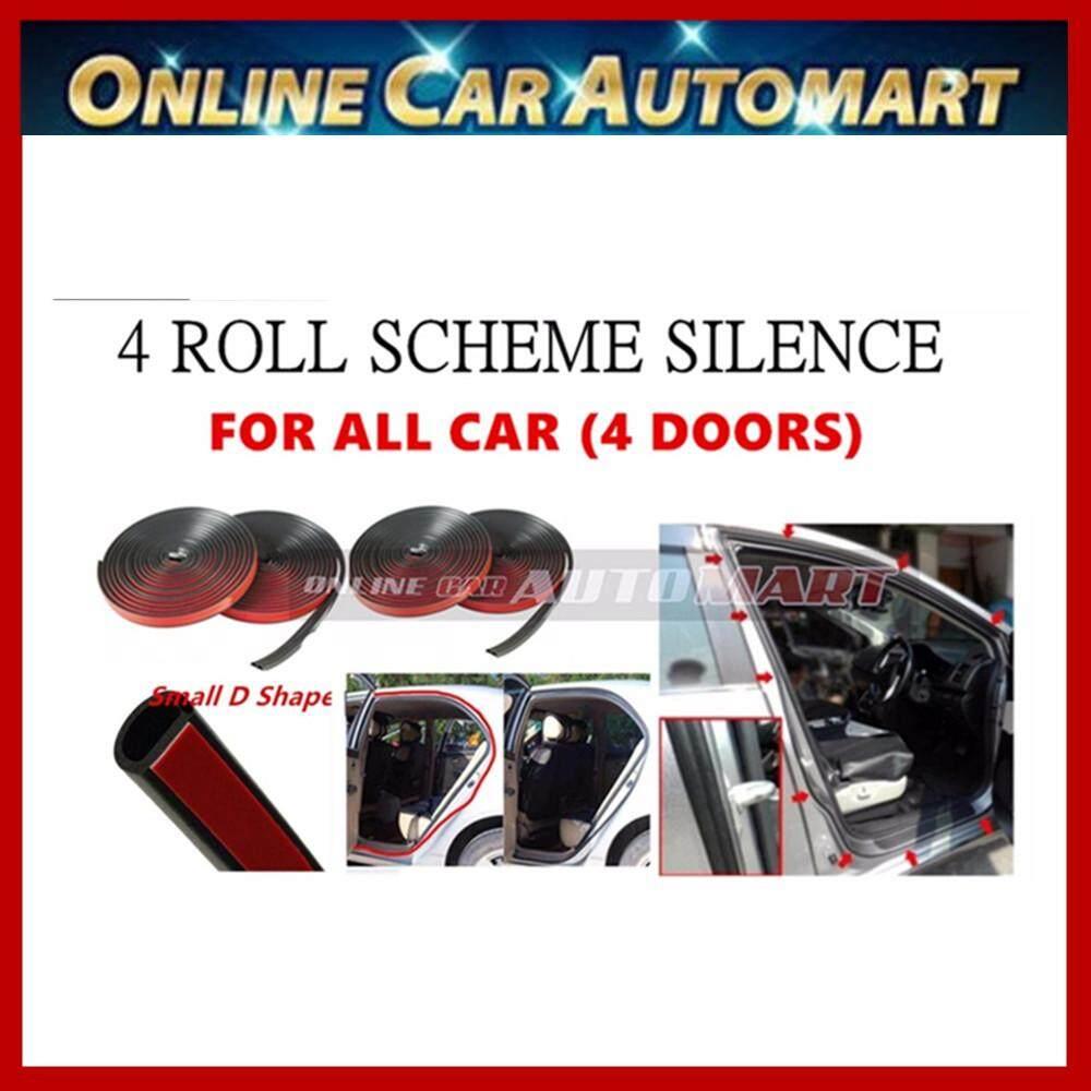 4 x Car Vehicle Rubber Scheme Silence (SMALL D SHAPE)  Wind Noise Door Sound Insulation Door Stripe - 4.3 Meter (4 DOORS)