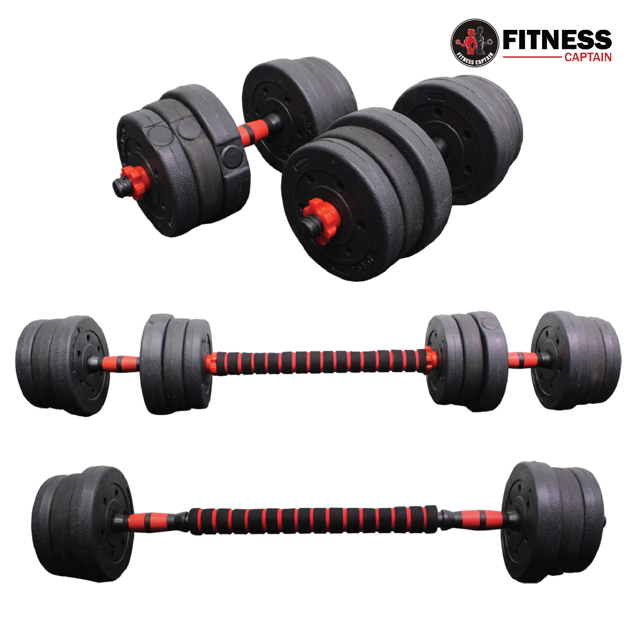 Fitness Captain Gym 20kg Adjustable Bumper Plate Dumbbell And Barbell Combo Set