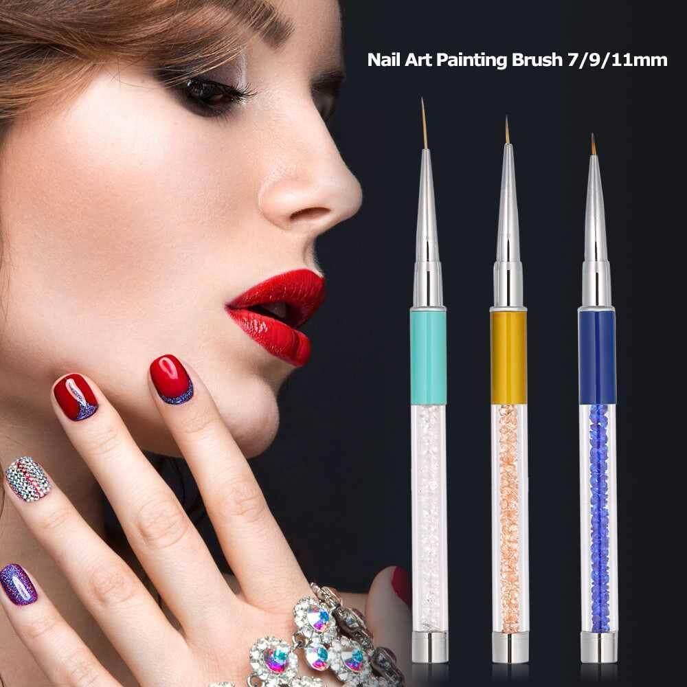 3pcs Nail Art Painting Brush 7/9/11mm Crystal Acrylic Nail Art Liner Pen UV Gel Painting Line Brush Nylon Hair Pen Manicure Nail Liner Tool