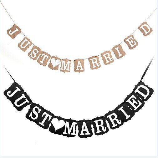 Festive Decor - JUST MARRIED Bunting Wedding Garlands Banner - BLACK / LIGHT BROWN