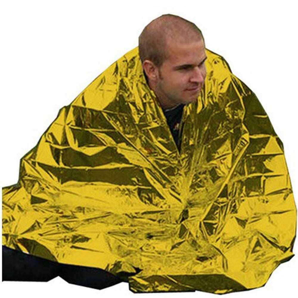 Best Selling 210*130CM Emergency Blanket Survival Rescue Insulation Curtain Outdoor Life-saving Military Gold (gold)