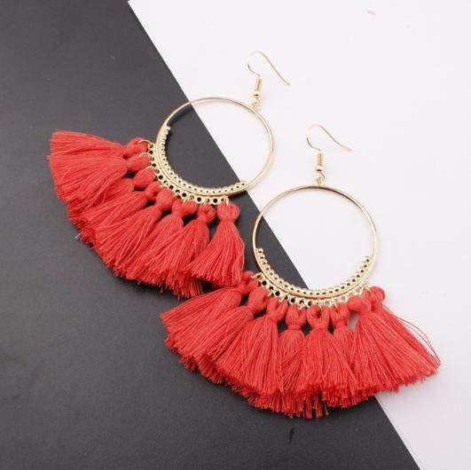 Tassel Fashion Bohemian Earrings Long Tassel Fringe Boho Dangle Jewelry Gift