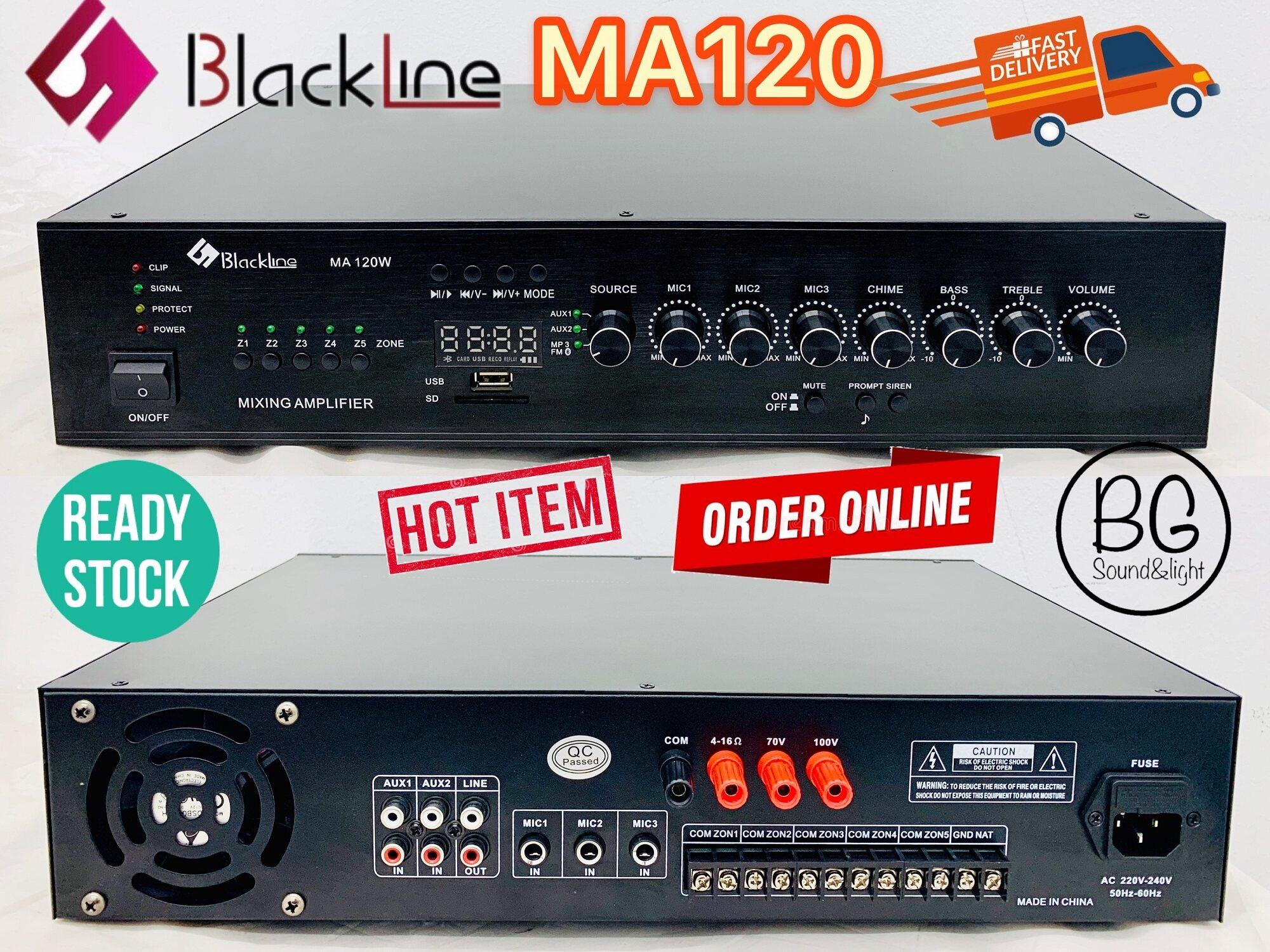[Ready Stock]Blackline MA120W 120W Public Address PA System Mixing Amplifier With 3 Mic Input / USB / SD / 5 Zones