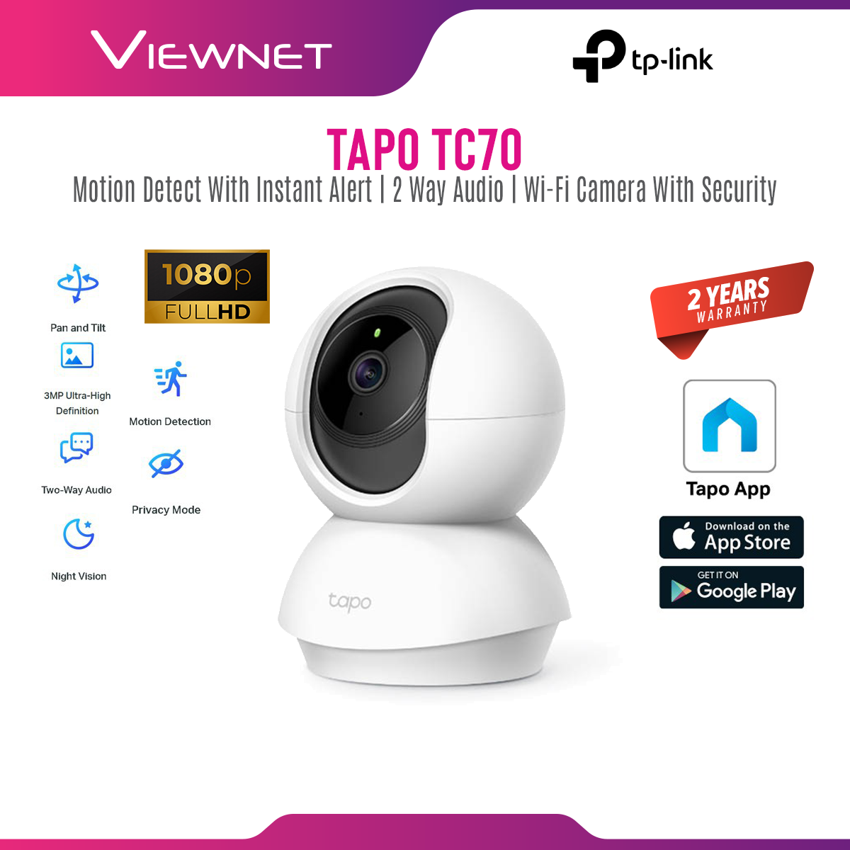 [ONLINE EXCLUSIVE 💥]TP-Link Tapo TC70 A.K.A TAPO C200 1080P Full HD Pan / Tilt Wireless WiFi Home Security Surveillance IP Camera