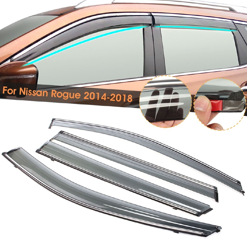 Windscreen Wipers & Windows - 4x Vent Window Visor Shade Sun Rain Deflector Guards For Nissan Rogue 2014- - Car Replacement Parts