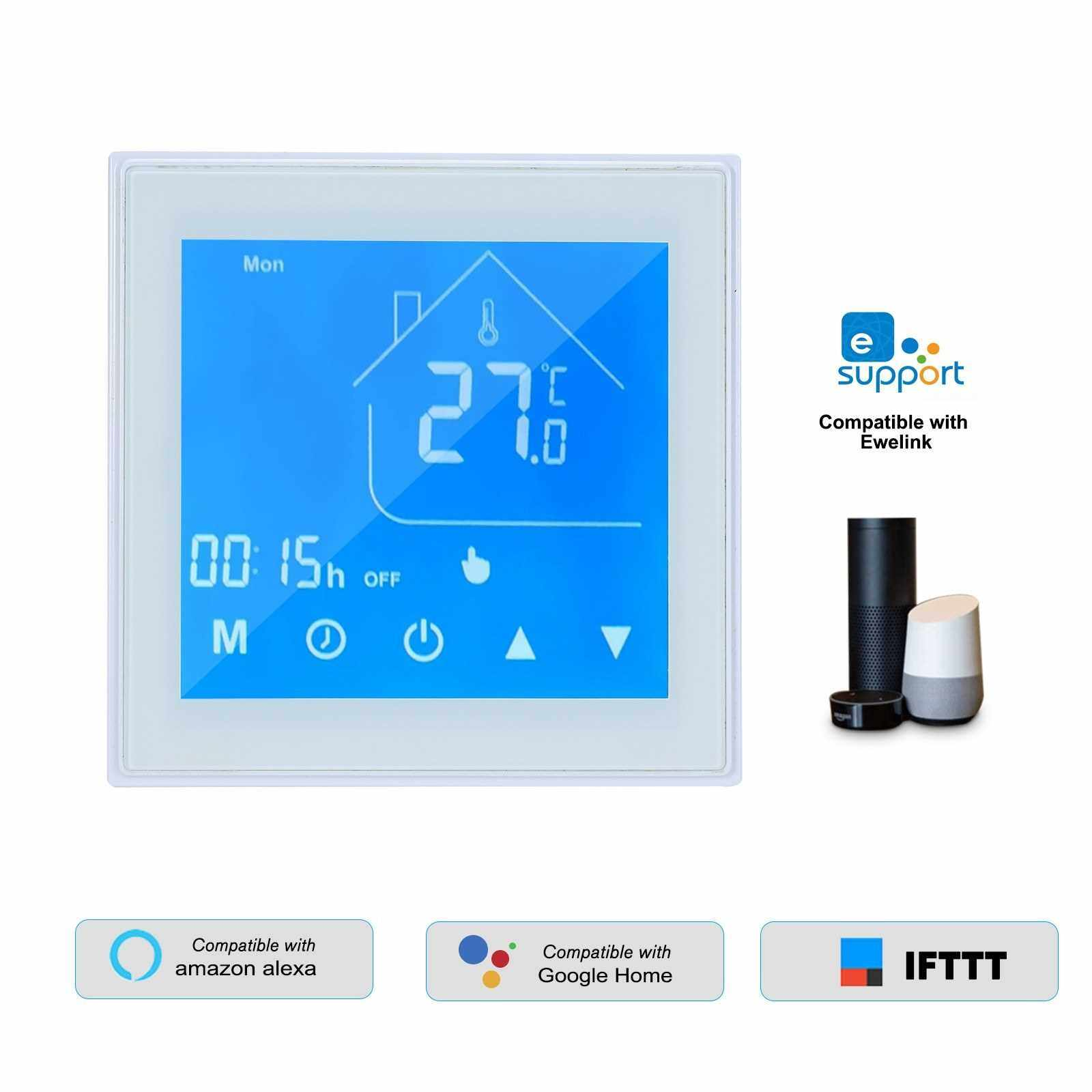 WiFi Smart Thermostat Temperature Controller LCD Display Week Programmable for Water/Gas Boiler Ewelink APP Control Compatible with Alexa Google Home (White)