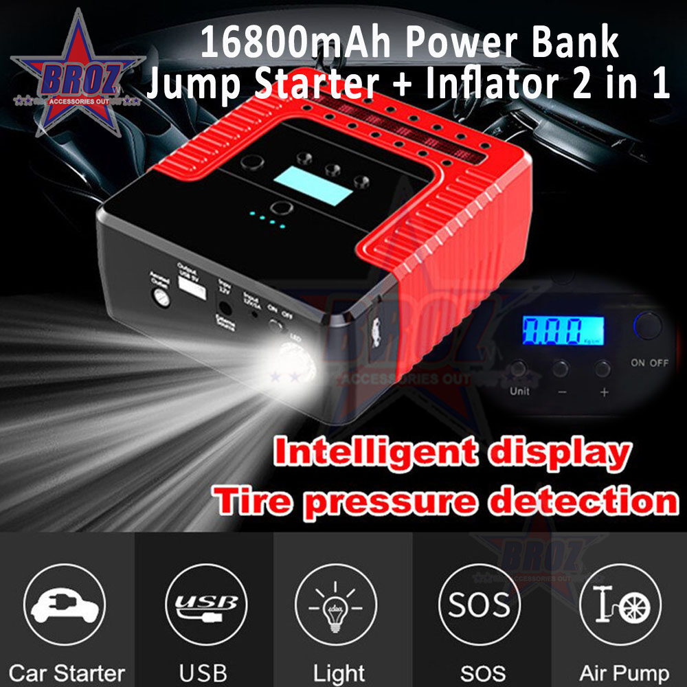 Latest Multi-function High Power Booster Power Bank Emergency Car Battery Jump Starter + Air Pump Car Starter Battery Charger Air Compressor Inflatable Pump Intelligent Digital Display 12V 400A 2 in 1 (PowerBank + Inflator) Pengecas Bateri Kereta