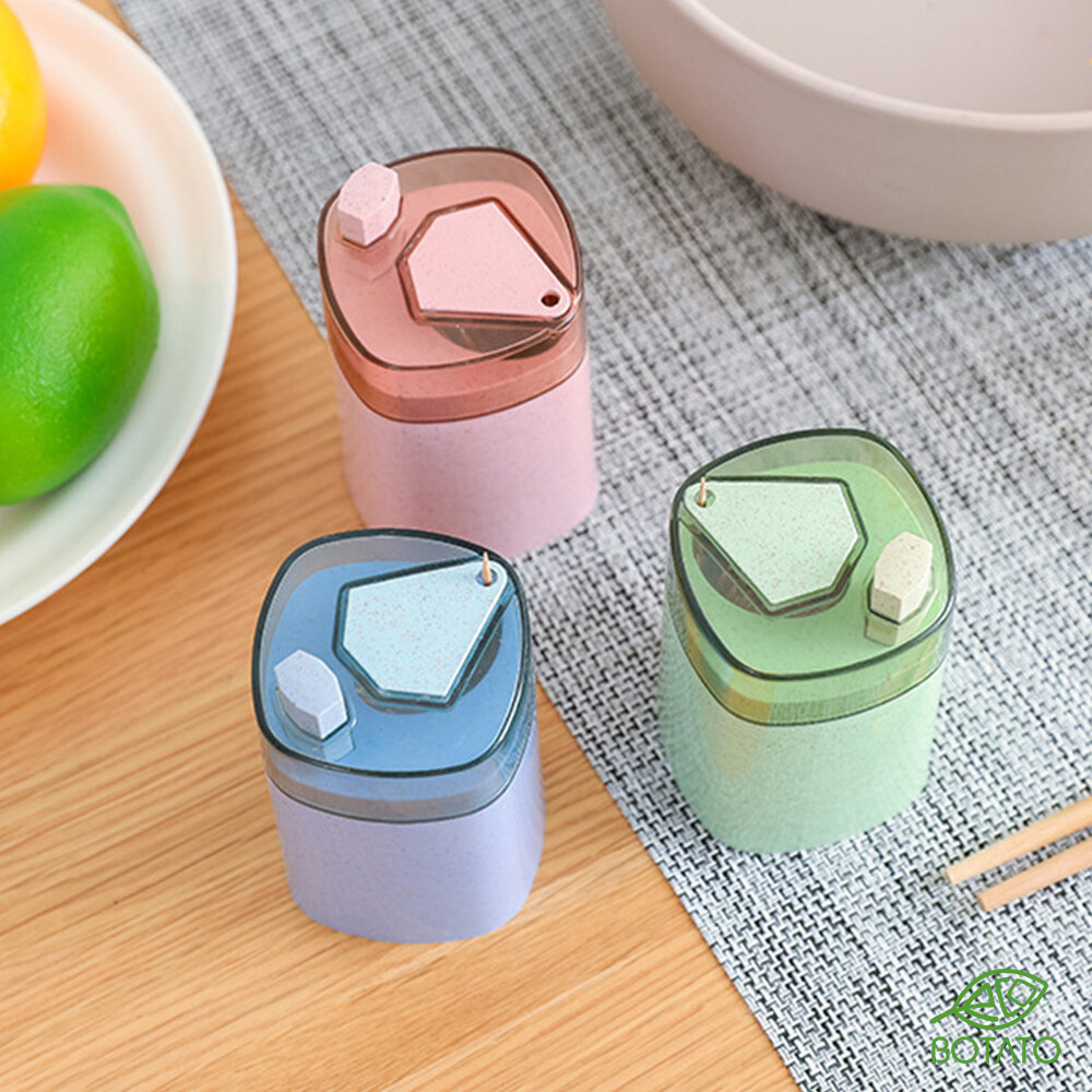 ?[Eco.Botato] WHEAT STRAW TOOTHPICK DISPENSER Automatic Pop Up Hand Press Holder Container Home Decoration Box Creative